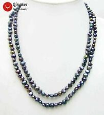 "Fashion Natural Black 6-7mm Baroque freshwater pearl Long 40"" necklace-nec6108"