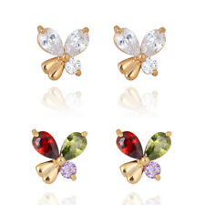 1 Pair 18K Gold Plated Big Oval Teardrop Crystal Clear Butterfly Stud Earrings
