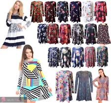 NEW WOMEN'S ADORABLE FLORAL PAISLEY PRINT LONG SLEEVE SWING DRESS SIZE UK 8-26