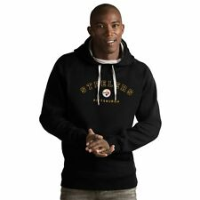 Pittsburgh Steelers Antigua Black Embroidered Victory Pullover Sweatshirt Hoodie