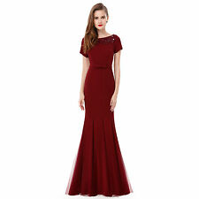 Women Elegant Short Sleeve Long Fishtail Evening Formal Gown Prom Dresses 08699