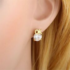 Fashion Babys Womens OK Letter Yellow Gold Plated Crystal Stud Earrings Jewelry