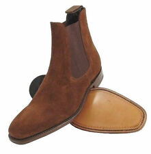 Handmade Mens Brown Chelsea Suede Leather Boot High Ankle Men Boots Leather Sole