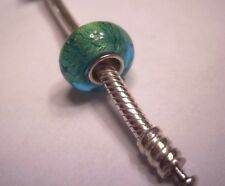 AUTHENTIC 925 Silver Teal Green Foil Murano Glass Bead for Bracelet USA Seller