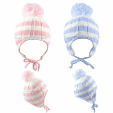 Baby Hat Large Pom Pom Winter Knitted Chin Tie Bobble Striped Boys Girls 0-18 M