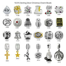 Christmas 925 Sterling Silver Charm Beads for European Bracelet Pendant Necklace
