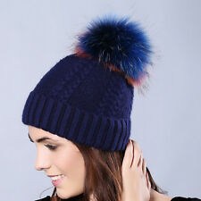 Women Bobble Woven Ski Hat Winter Warm Knitted Cap Colorful Raccoon Fur Ball