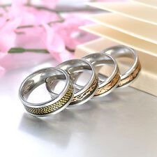 Size 7-12 Gold Silver Dragon Stainless Steel Men Wedding Rings Cool Band Ring