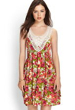 Forever 21 Boho Multi Color White Crochet Lace Floral Dress Small S