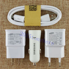 Original New For Samsung Galaxy S4 S3 Note2 2A Car Wall Charger Micro USB Cable