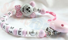 Wooden SAFE Personalised Dummy Clip Holder Chain Strap for baby with MAM adapter