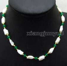 Big 12-15mm Baroque strip White Natural pearl and Green Jade 17'' Necklace-n6129