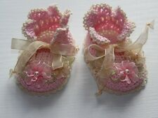 """Luxurious light pink/creme crochet 3 1/4"""" booties shoes for reborn baby doll"""