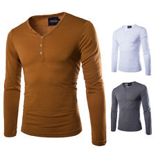 Men's Slim Fit Long Sleeve Button V-Neck Tee Shirt Solid Leisure T-Shirts Tops
