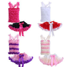 Baby Girl Stretchy Ruffle Top + Tulle Tutu Skirt Pettiskirt Set Toddler Clothes