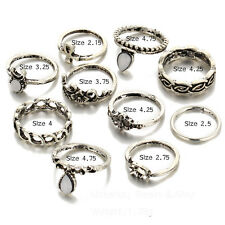 Lot 10PCS Punk Vintage Women Knuckle Rings Tribal Ethnic Hippie Stone Joint Set