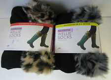 Ladies Fleece Wellie Socks With Animal Print Faux Fur Cuff SK236CDUA