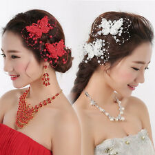 Elegant Wedding Bride Faux Pearl Butterfly Beaded Hair Clip Comb Barrette Pin