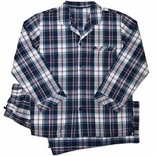 New Mens Coast & Co Woven Long Navy Red  Check Pyjamas Pjs Sleepwear Sizes S-3XL