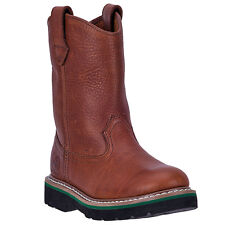 John Deere Children Boys Brown Leather Unlined Pull-On Cowboy Boots