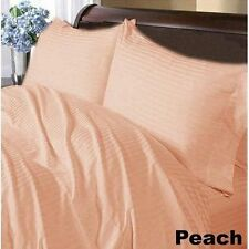 1000TC Peach Striped 1PCs Fitted / Bottom Sheet 100% Cotton Perfect Deep Pockets