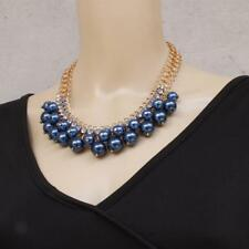 Fashion Jewelry Pendant Crystal Gold Chain Chunky Statement Pearl Bib Necklace