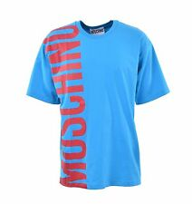 MOSCHINO COUTURE Printed Oversize Logo T-Shirt Cotton Blue 04935