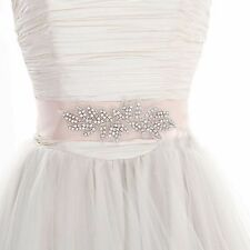 Bridal Wedding Rhinestone Crystal Leaf Applique Satin Sash Dress Belt