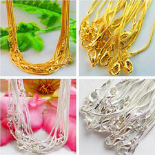 New 5/10Pcs Fashion Snake Chain Necklace 43cm Jewerly Finding Silver/Gold Plated