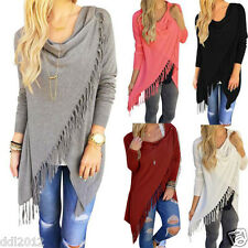 Fashion Womens Loose Casual Long Sleeve Tassel Shirt Cotton Blouse Tops T-Shirt