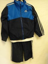 ADIDAS YOUTH BOYS 3 PIECE TRACK SUIT- NAVY BLUE/ BLUE WITH GRAY STRIPES