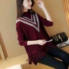 Women Loose Korean Version Of The Cape Bat Sleeve Sweater Sets Of Tassel Sweater