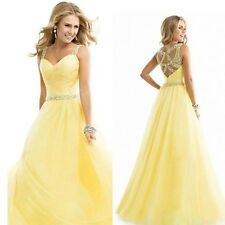 Deep V Neck Halter Chiffon Sequins Stitching Yellow Long Swing Dress