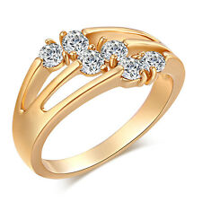 Korean Jewelry Womens 18K Gold Plated Round 3 Row CZ Bridal Ring Size 8 9