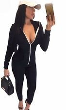 Style All Match Casual Rompers Jumpsuits Womens Black Red Zipper Sportswear