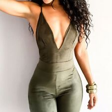 Womens Jumpsuit Sleeveless Backless Cross Overalls Deep V Bodycon Jumpsuits