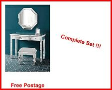 Mirrored Dressing Table Set Vanity Mirror Stool Bed Room  Contemporary Furniture