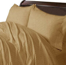 3 pc Duvet Set OR (Duvet Set+Fitted Sheet)1000 TC Egyptian Cotton-Taupe Striped