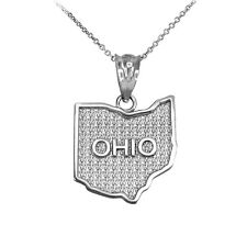 .925 Sterling Silver Ohio State Map United States Pendant Necklace