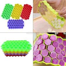 Small Ice Cube Tray Durable Flexible Silicone 37 Hexagon Shaped Cube Mold Mini