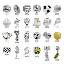 Sports Theme 925 Sterling Silver Beads for European Charm Bracelet Necklace