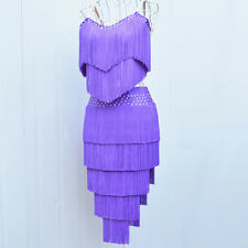 Latin Samba Salsa Rumba Cha Cha Ballroom Competition Tassel Dance Dress 11 Color