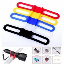 For Bike Bicycle Flashlight Torch Silicone Universal Handle Bar Holder Mount  LE