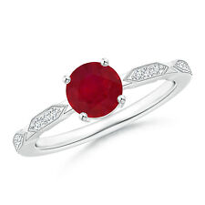 Solitaire Round Natural Ruby Diamond Ring 925 Silver / 14k White Gold Size 6.5