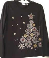 Woman Tops Black Kim Rogers Owls Trees Gifts Sequins Snowflakes Embroidery NWT S