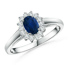 Oval Blue Sapphire Diamond Cocktail Ring in 14k White Yellow Rose Gold Size 6