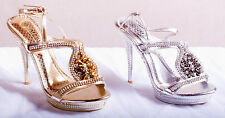 Diamond Stiletto High Heels Ankle Strap Strappy Party Wedding Sandals Shoes Size