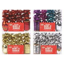 Metallic Bows And Ribbon Christmas Gift Packaging Wrap Set Silver Multi 4 color
