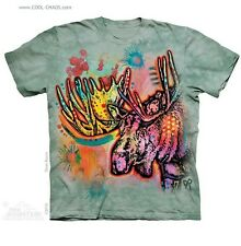 Neon Moose T-Shirt / Gray Tie Dye Tee,Rainbow Graffiti,Dean Russo Wildlife Art