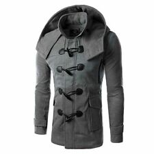 New Mens Slim Fit Long Modern Winter Coat Solid Jacket Parka Hooded Windbreaker
